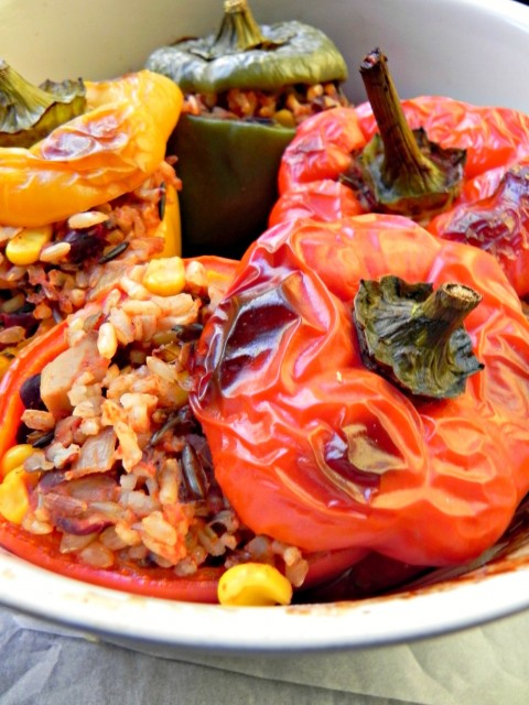 Capsicum Stuffed with Rice and Mediterranean Spices