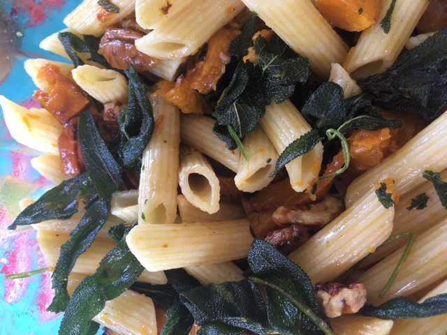 Roasted Pumpkin Penne with Pecans and Crispy Sage