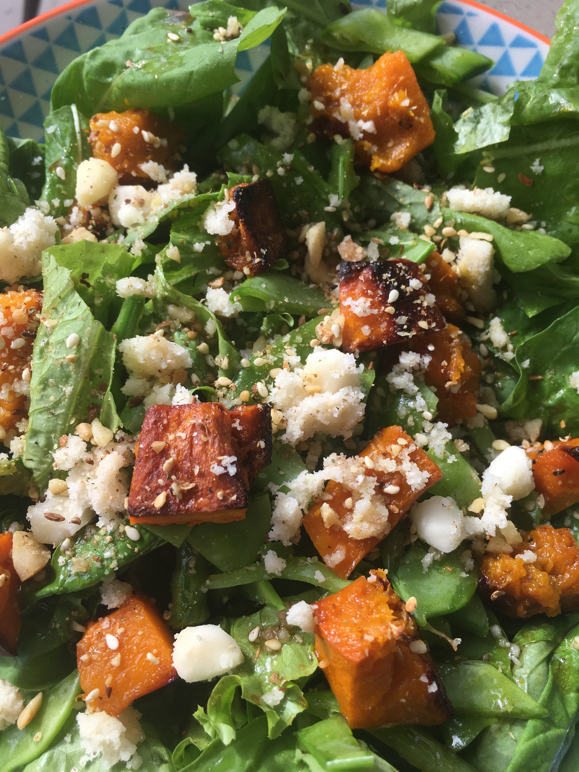 Roasted Pumpkin and Feta Salad with Honey and Balsamic Dressing.